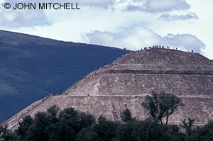 People climbing the Pyramid of the Sun at Teotihuacan