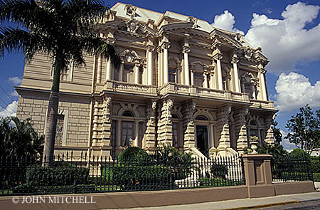 The Palacio Canton on Paseo de Montejo in Merida, Yucatan, Mexico. This mansion dates back to the early 1900's. It now houses a regional archaeological museum, the Museo Regional de Antropologia, which has artifacts from Chichen Itza and other sites in the Yucatan.