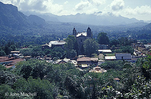 View of the Spanish colonial town of Tepoztlan, Morelos, Mexico. Please click on the image for more information.