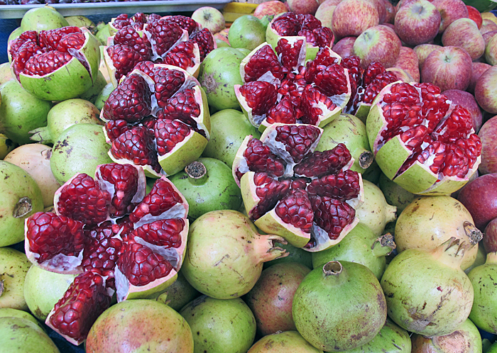 Fresh, seasonal pomegranates, available now in Mexico's markets.