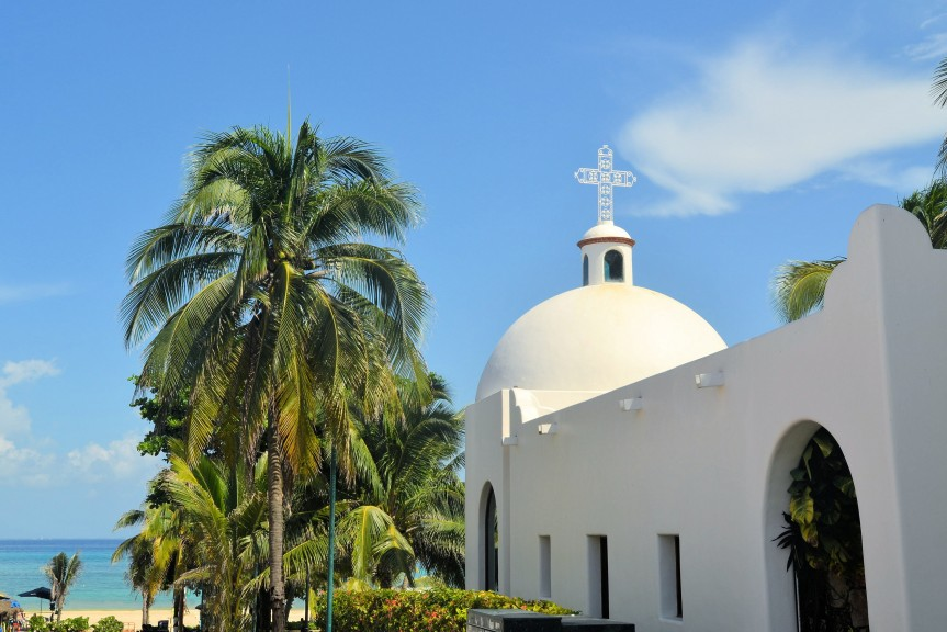 White Mexican church at the beach, Playa del Carmen, Mexico
